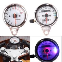 Wholesale Universal Dual Odometer Speedometer RPM Tachometer Tacho Gauge Motorcycle With LED Light Backlight V Instruments