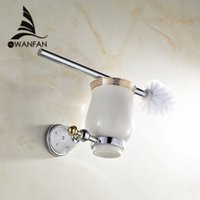 Wholesale Luxury Chrome plated finish toilet brush holder with Ceramic cup household products bath decoration bathroom accessories