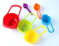 baking cup measurement - 5set Plastic Rainbow Color Kitchen Measuring Cup Set Tables Spoon Set Kitchen Baking Measurement Tools With Scale For Baking piece