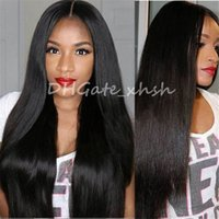 Wholesale 7A Silk Top Wig Full Lace Wigs Indian Straight Glueless Silk Full Lace Human Hair Wigs For Black Women Lace Front Natural Wigs