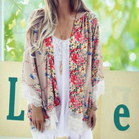 Wholesale New arrival Fshion Women s Boho Style Lace Floral Printed Kimono Loose Long Tops FREE SHIPPIN size S L