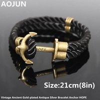 anchor rope double braid - Navy Wind Tom Hope Friendship Wristband Bronze Double Braided Anchor Bracelet Bangle For Women Men Rope Hooks Charm Bracelet V55