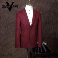 Wholesale FLocking Men Casual Blazer Printed Polka Dot Red Stage Clothes For Singer Vintage Mens Blazers New Arrivals L XL