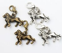 lion charms - MIC x26 mm Tibetan silver Bronze Mighty Walking Lion Charms Heart Floating Lobster Clasps Charm for Glass Living Memory Locket C098