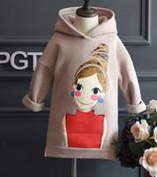 american character doll - 2016 Hot Sell Winter Doll Printing Long Sleeve Hoodies Wear Children Girls Velvet Warm Dresses Kids Sweatshirts Cartoon Hooded B4302