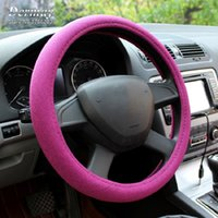 Wholesale 6Colors Flax Fabric Handmade Car Steering Wheel Cover Breathability Skidproof Universal Fits Most Car Styling Steering Wheel
