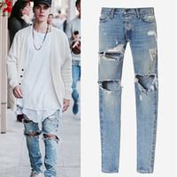 Wholesale Men Selvedge Zipper Destroyed Torn Jeans Skinny Hip Pop Pants Blue Jean Slim Fit Rockstar Kanye West Justin Bieber Fear of God