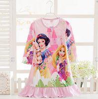 Wholesale highgrade rozen Dress Princess Pajamas Baby Sleepwear Elsa Anna frozen Girls Dresses Snow White Long Sleeve Pajamas Kids Pajamas Nightdress
