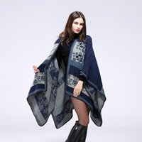 Wholesale The new European and American fashion ms qiu dong season with thick warm color cloak shawls