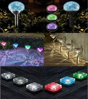Wholesale 500PCS LJJM79 LED Solar Powered Diamonds Lawn Light Pathway Garden Stake Waterproof Lamp Outdoor Garden Lamp