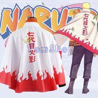 Wholesale Anime Naruto Uzumaki th Hokage Cosplay Cape Cloak Dust Coat Halloween Costumes