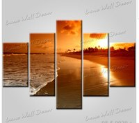 5 panels oil painting the sunset beach large wall art photos pictures for living room home decoration on canvas