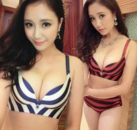 Wholesale Sexy Navy Lingerie - High Quality Top brand one-piece wireless seamless Striped Navy sexy Women's Bra Sets small boobs Push Up lingerie set B Cup