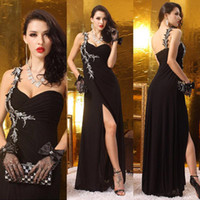 beaded tuxedo - Women One Shoulder evening dressess Black Backless Split formal tuxedo Party Dress Ladies formal dress muslim Sequins Celebrity gowns QW721