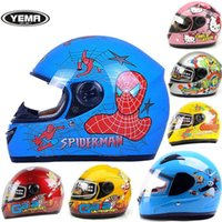 bicycle helmets for girls - ABS YEMA Children cartoon full face motorcycle helmet YM205 child electric bicycle helmets for boys and girls Four Seasons General Size S