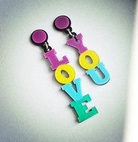 alphabet club - Fashion Personality Colorful Letter Love You Hip Hop Acrylic Earrings Women Club Jewelry Accessories New