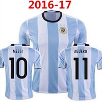 La calidad de Tailandia! Copa América 2016 jerseys de fútbol de la Argentina Traje de fútbol de los jerseys 7 DI MARIA 9 HIGUAIN 10 MESSI 11 AGUERO 14 MASCHERANO