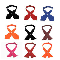 Wholesale 24 colors Crossover bow ties Solid Color Cross bow tie for adult neckties Christmas Gift