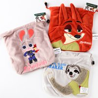 Wholesale Prettybaby zootopia drawstring bags cartoon embroidery storage plush bag Judy Nick Flash Organization children gift Pt0466