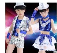 baby jazz clothing - 2016 new children girl Sequins modern dance jazz hip hop children clothing EMS free