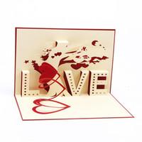Wholesale 10pcs D Pop UP Card Gift Greeting Cards Valentine Lovers Cutout Handmade Postcard Set