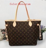 Wholesale 1 quality designer genuine leather will oxidize neverfull mm gm women tote bag louis vutton with removable zippered clutch Shoulder Bags