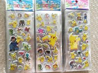 Wholesale Free DHL Fashion Cartoon Poke Pikachu D Stickers UV Wallpaper Nursery Children Kids Room Bedroom Classial Toy cm L1