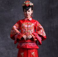 Wholesale Bridal gown red of Chinese style restoring ancient ways toast wedding cheongsam longfeng existing products
