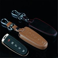 Wholesale Car Genuine Leather Remote Control Car Keychain Key Cover Case For Ford Edge Buttons Smart Key L216
