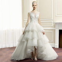Wholesale 2016 illusion sweetheart high low wedding dresses A line ball gown tiered skirts short wedding dress long train
