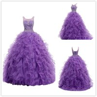 Wholesale 2016 Purple Ball Gown Quinceanera Dresses Sheer Jewel Crystal Sweet Party Dress Organza Floor Length Special Occasion Women Evening Gowns