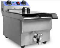 Wholesale Commercial L W Electric Single cylinder Deep Fryer w Timer and Drain Stainless Steel French Fry Fries Machine
