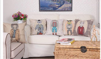 Wholesale 2016 Cartoon Animal Cushion Cover Decorative Throw Pillow Covers Pillow cover Sofa Decor Couch The lion rabbit dogs