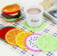 Wholesale 6pcs Assorted Fruit Coaster Colorful Silicone Cup Drinks Mat Tableware Placemat
