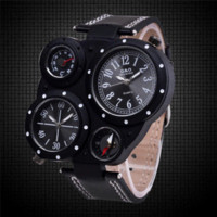 auto compass temperature - 2016 Mens Watches Top Brand Luxury Big Dial Waterproof Dual Time Temperature Compass Display Sport Quartz Watches Men masculino
