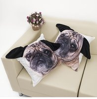 Wholesale Special shaped Ear Cute Pug Dog Big Face Pattern Print Custom Home Decor Throw Pillow Case Almofadas Decorative Cushion Cover