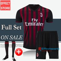 ac kits - Discount AC Milan kits soccer jerseys Full Set BACCA KAKA home black BONAVENTURA HONDA AC Milan football shirts whit socks Shorts