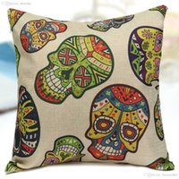 Wholesale cmX45cm Personality Cover Cushion Colorful Mexican Day Of The Dead Sugar Skull Print Chair Pillow Case