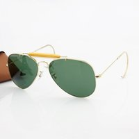 crystal glass - 2016 Top Brand Classics Pilot Outdoorsman Sunglasses Men Women Alloy Metal Frame Crystal Green Glasses Lens mm Original Case Box