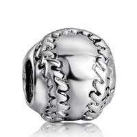 baseballs sterling silver - New75 Sterling Silver Charm Baseball European Charms Beads Fit Snake Chain Bracelet Fashion DIY Jewelry