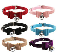 bell suppliers - Quick release dot cat collar kitten velvet bow tie safety elastic free post colours bowtie with bell pet supplier WJIA009