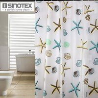 Wholesale Shower Curtains Starfish Pattern PEVA Bathroom Curtain Waterproof Bathing Products Home Deco