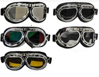 Wholesale 5 Styles Harley Goggles Glasses Motorcycle Goggles Bicycle Goggles Scooter Pilot Ski Helmet Goggles Safety Eyewear Eyes Protector LJJP201