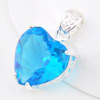 australia gemstone - Luckyshine Sweet Shiny Heart Sky Blue Topaz Gemstone Sterling Silver Pendants Russia Australia USA Pendants