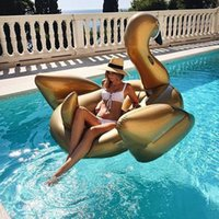 air swimming pools - 190cm Giant Giant White Black Gold Swan Inflatable Air Mattress Ride On Water Float Toy For Kids Adult Pool Swimming Ring Raft