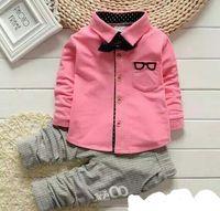 Boy Spring / Autumn 100% Cotton Spring of new children's clothing Children Suit Boys Outfit bow tie shirt+ stripe casual pants Boy Suit Toddler Newborn Set Baby Wear