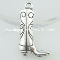 antique boot - 16811 Alloy Antique Silver Vintage Thigh Boot Knee Boot Pendant Charm