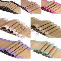 Wholesale 10pcs Vintage Burlap Lace Hessian Table Runner Classical Natural Jute Country Party Wedding Adornment Decoration x108 quot Table Cloth