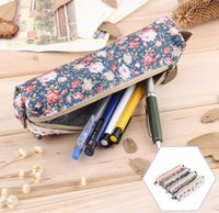 Wholesale Fashiong Retro Flower Lace Floral Canvas Zipper Pencil Case Pen Bag Purse Cosmetic Makeup Pouch For For Kids Girls School