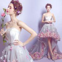Wholesale 2016 Ready To Ship Sweet Hi Lo Flower Applique And Shinning Beading Elegant Evening Dress Prom Dress